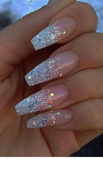 Nails Glitter Slay Fleek White Nail Designs Glitter Cute Acrylic Nails Nail Designs