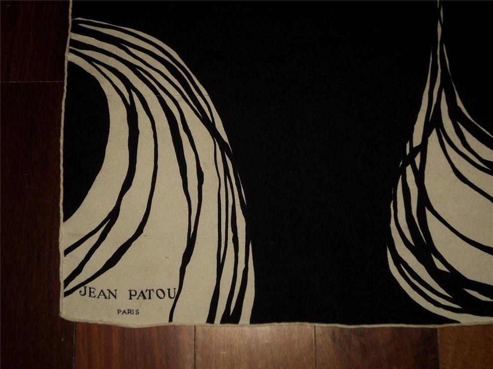 0114a49fe21 Vintage 40s JEAN PATOU PARIS Black+White Silk Scarf Handrolled Signed Rare  30X31 Soie