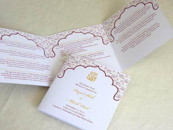 ganesh hindu wedding programs indian trifold folded ceremony
