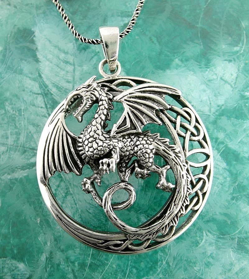 Animal Pendant Celtic Dragon Viking Jewelry Dragon Dragon Necklace Norse Pendant Silver Dragon Dragon Pendant Silver 925
