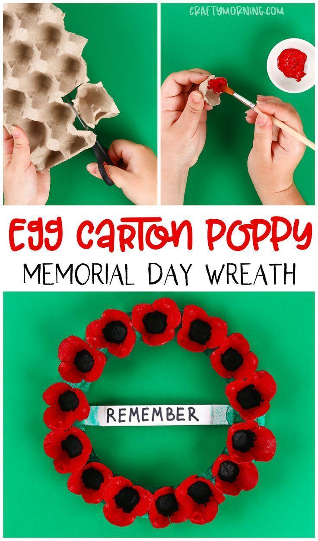Egg Carton Memorial Day Poppy Wreath - Crafty Morning