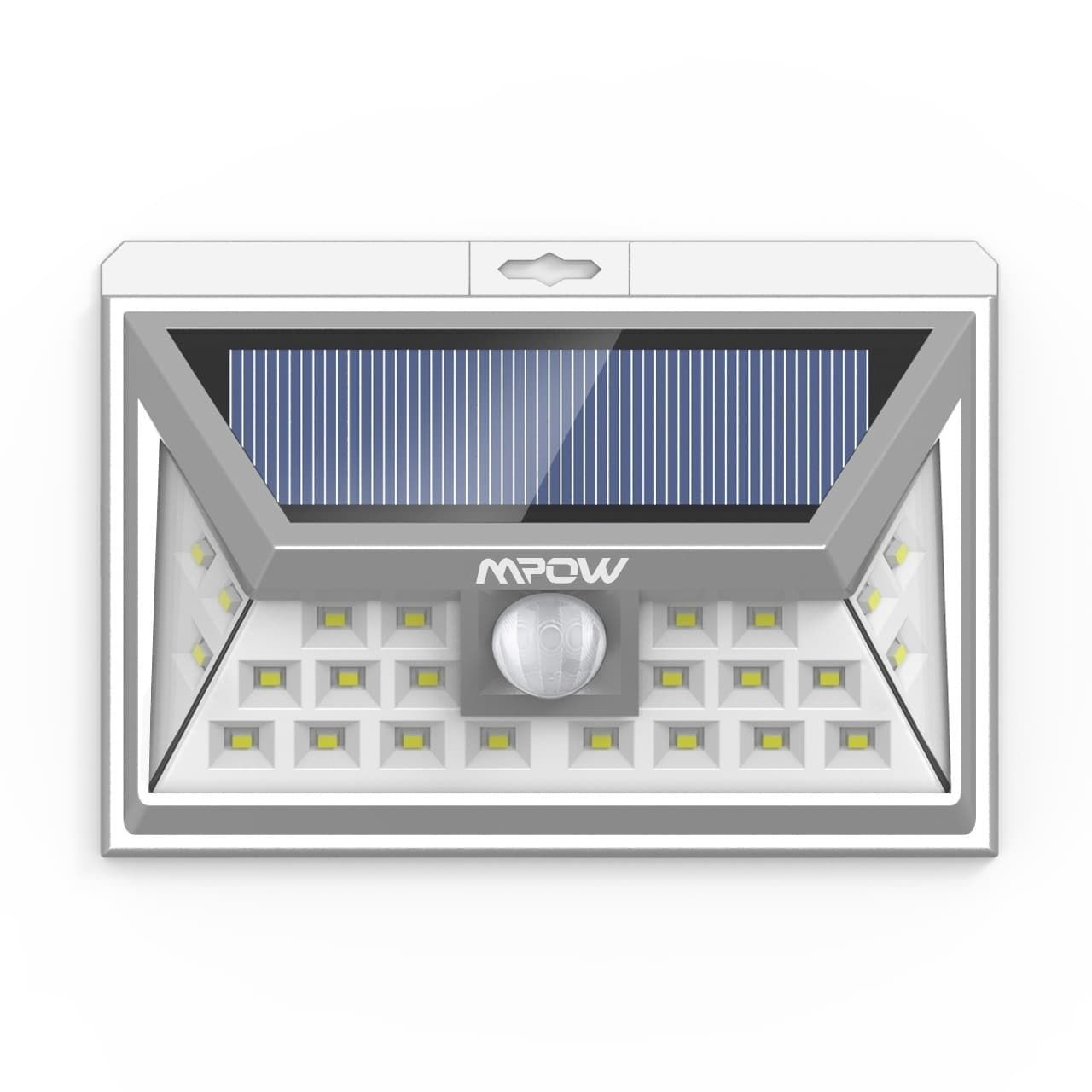 Mpow 24led Wireless Waterproof Outdoor Solar Light With Wide Angle Shadow Sensor Alarm Black White Abs