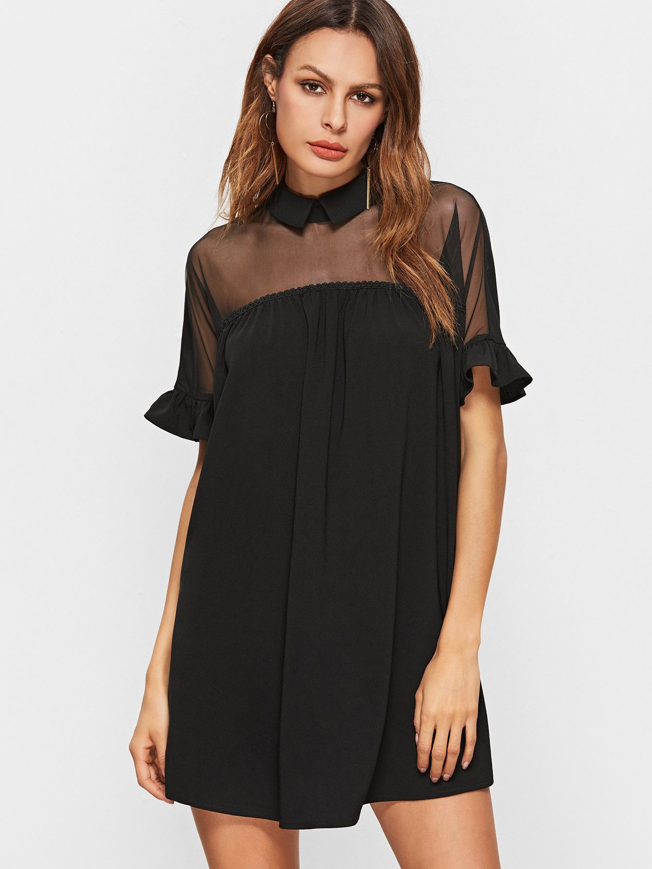 84a650a0a1 Mesh top with collar design and ruffle cuff sleeves. Trendy black dress  perfect for summer dances or dinner dates out! Cuff(Cm)  XS 27cm