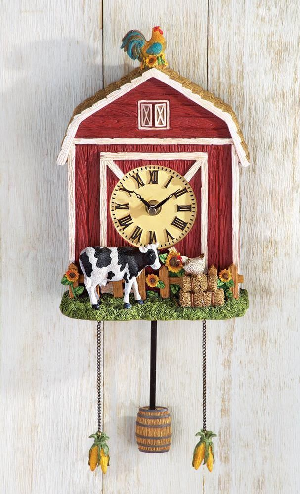 WALL CLOCK COUNTRY BARN FARM HOUSE DEN LIVING ROOM DINING BASEMENT RUSTIC Country