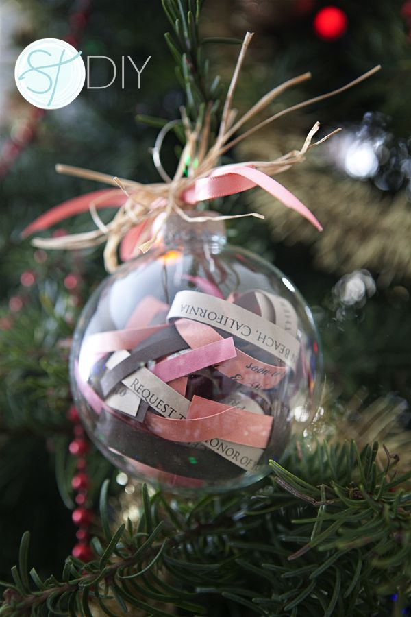 DIY Wedding Cut Up An Extra Invitation And Make A Christmas Ornament