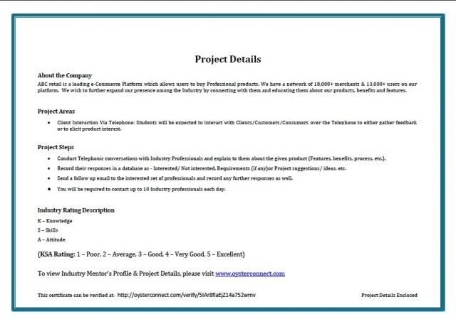 sample certificate of completion of project