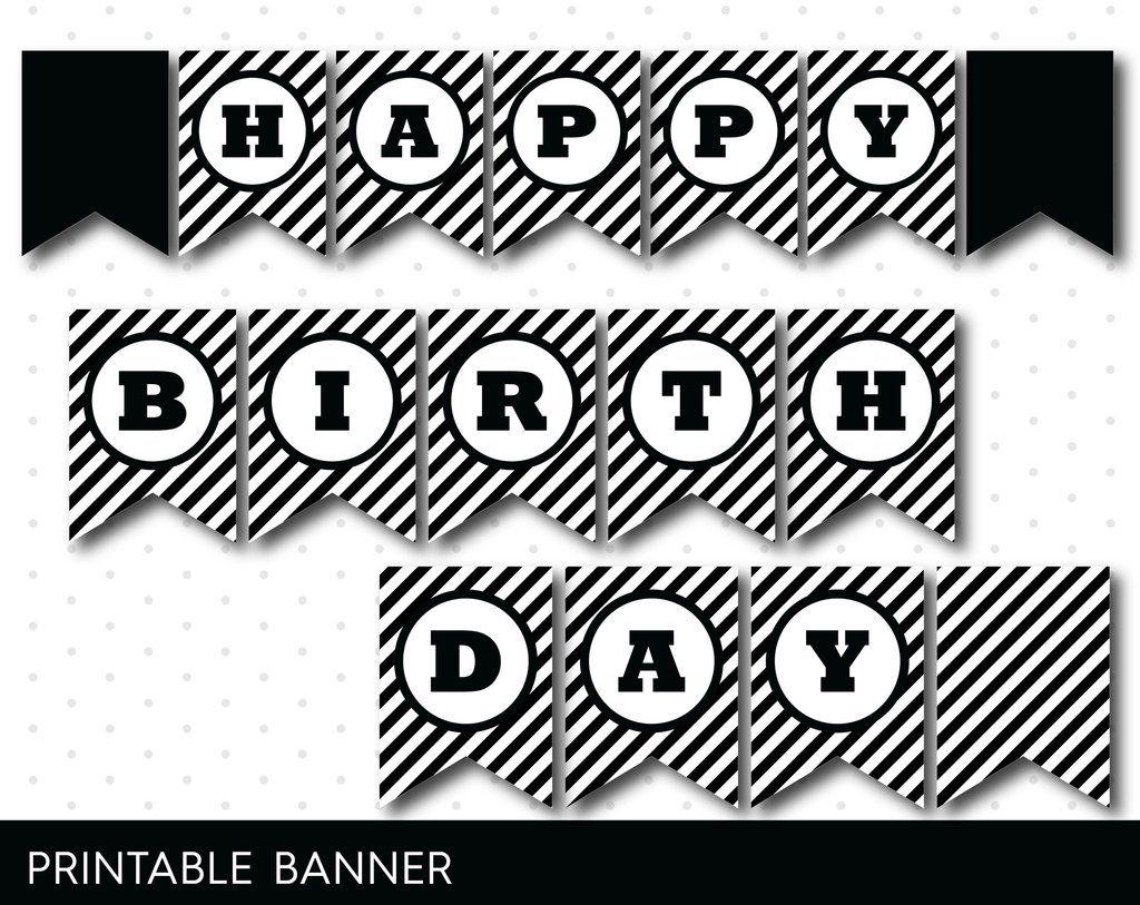 Black and white printable banner with black stripes full