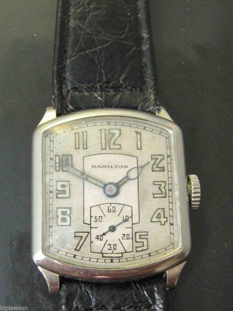 1925 hamilton tonneau plain 14 kt solid white gold 987
