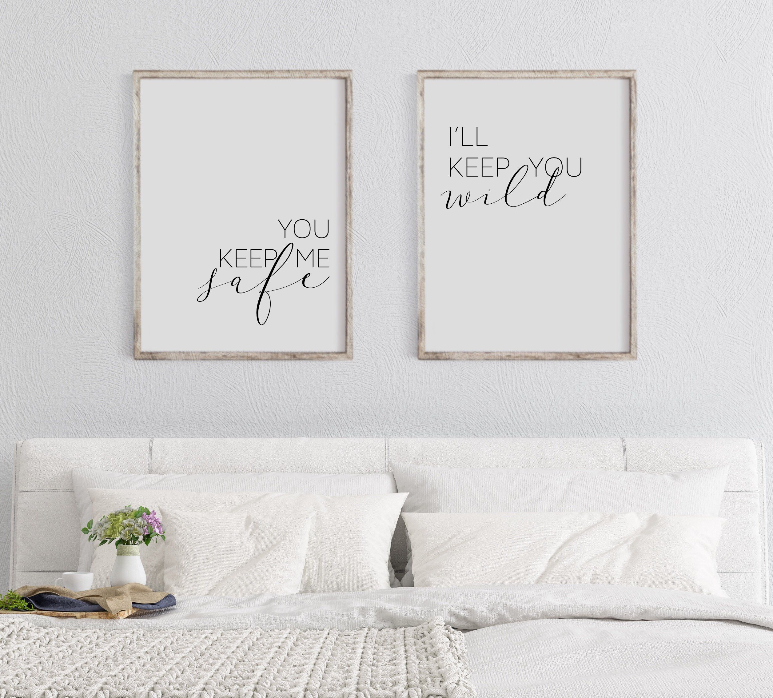 You Keep Me Safe I'll Keep You Wild Printable Wall Art Set of 2 | You and Me Prints | Over the Bed Farmhouse Decor | Valentines Day Gift images