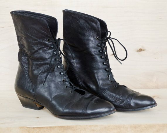 Vintage Black Leather Lace-up Mid-Calf Boots, Oxford Ankle Boots, Steampunk