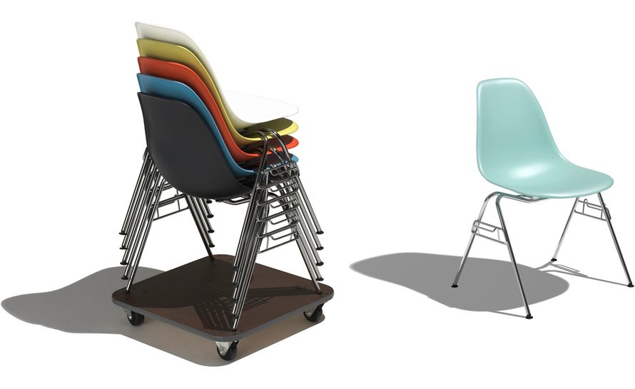 Eames Molded Plastic Side Chair With Stacking Base Eames Molded Plastic Side Chair Side Chairs Chair