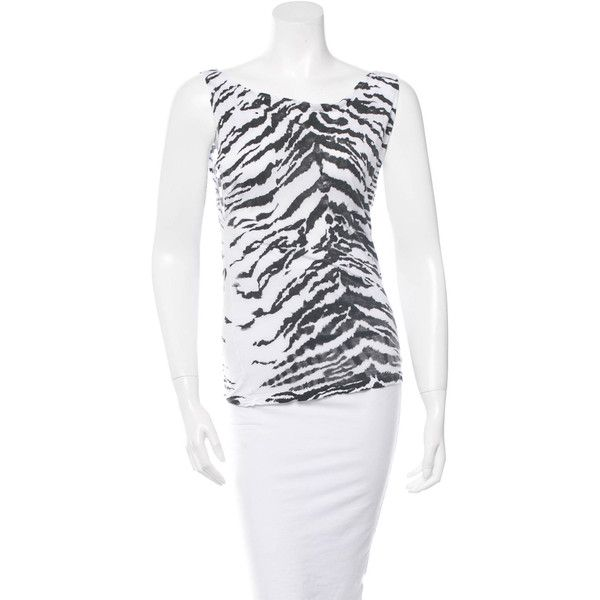 1062150cfb0d40 Pre-owned Saint Laurent Tiger Striped Sleeveless Top ( 85) ❤ liked on  Polyvore