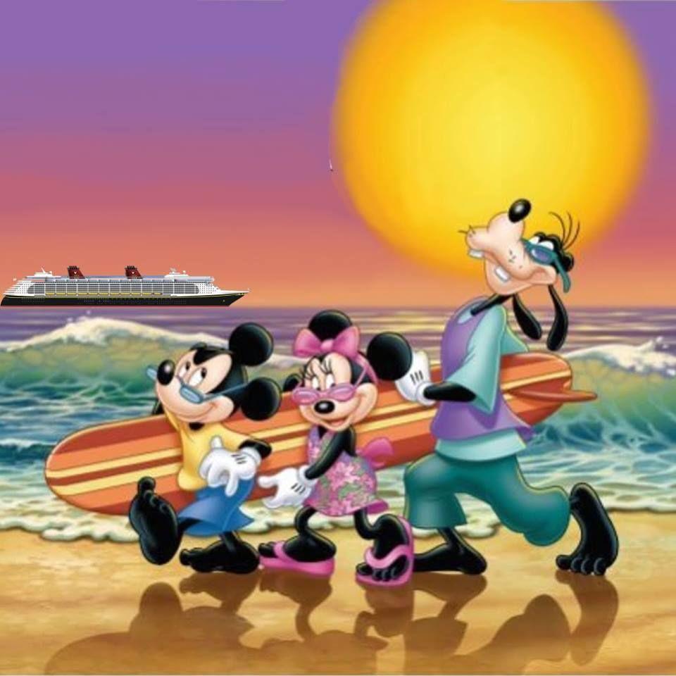 Mickey minnie and goofy having fun at castaway cay disney
