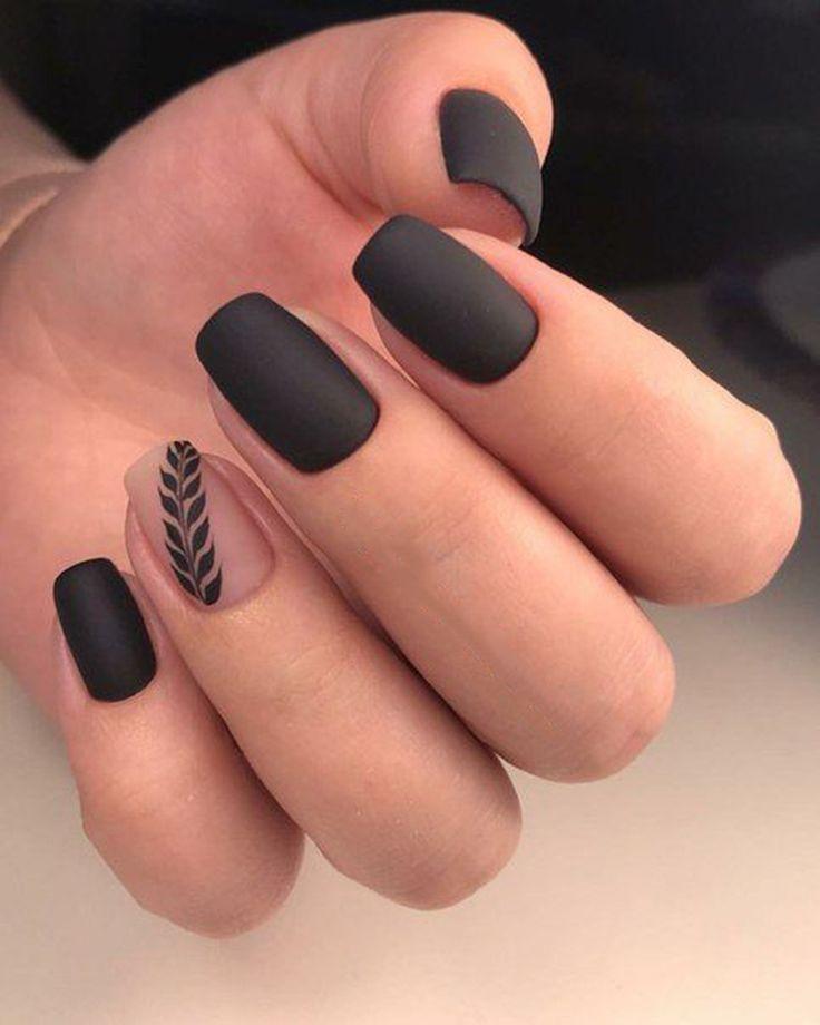 Más de 30 diseños de uñas de color negro mate de moda inspirados – belleza – #Beauty #Black # …