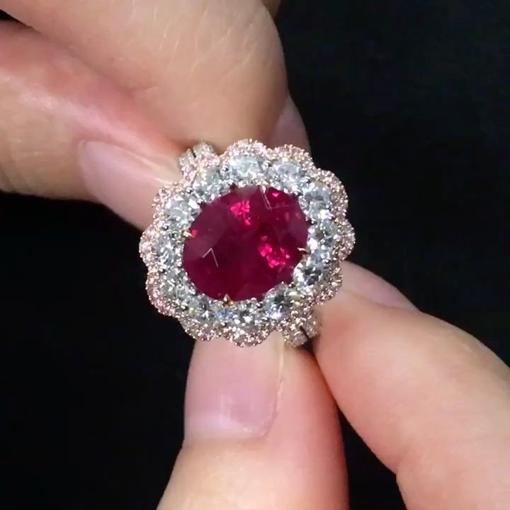 Dehres A Beautifully Crafted 4 Carats Oval Shape Burmese Ruby Ring Surrounded Fancy Pink Diamond Pear Diamond Engagement Ring Diamond Cluster Engagement Ring