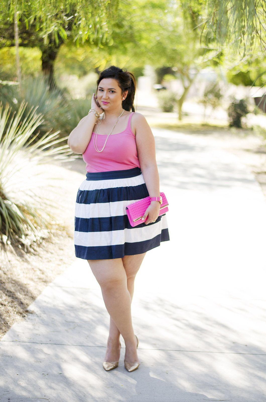 plus size party outfit ootd pink and navy crystal coons preppy ...