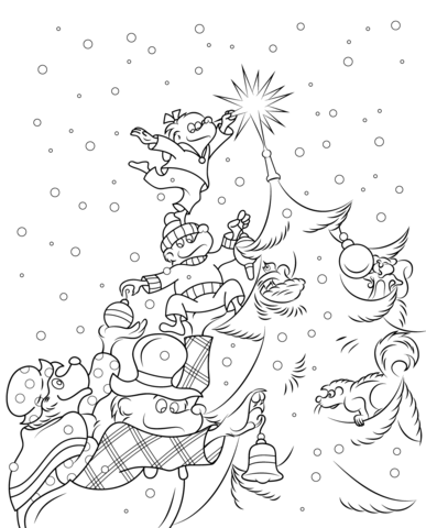 The Berenstain Bears Christmas Tree Coloring Page Color Me Pretty