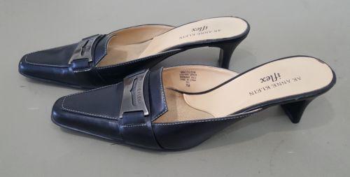 2ccd794aed60 AK Anne Klein iflex Cousins Blue Leather Pointy Slip Ons Kitten Heels Size  7M S1
