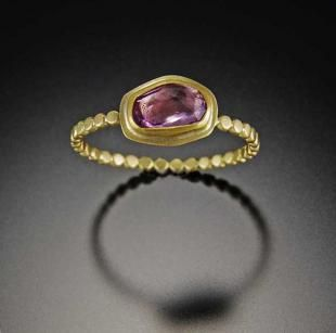 Pink Sapphire Ring with Tiny Hammered Dot Band | Ananda Khalsa Jewelry