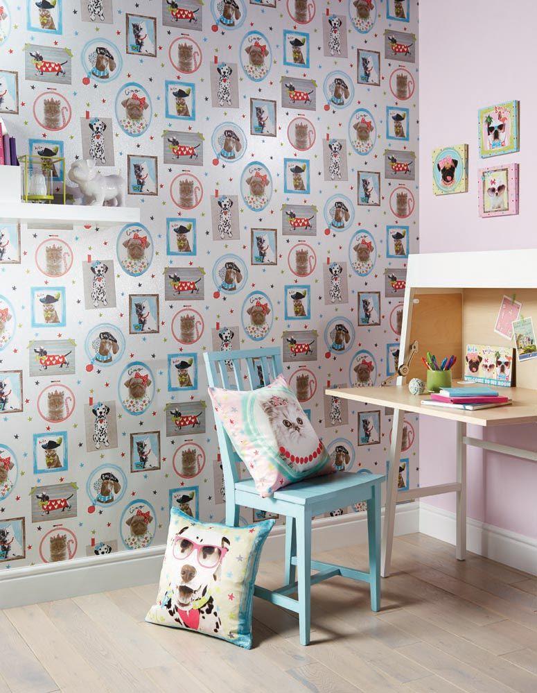 Детские обои с собачкой. Коллекция детских обоев Imagine Fun от английской фабрики Arthouse.