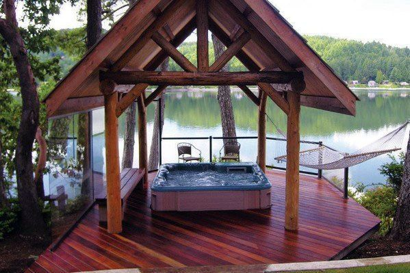 Top 80 Best Hot Tub Deck Ideas - Relaxing Backyard Designs #hottubdeck Impressive Hot Tub Deck Ideas With Covered Roof #hottubdeck