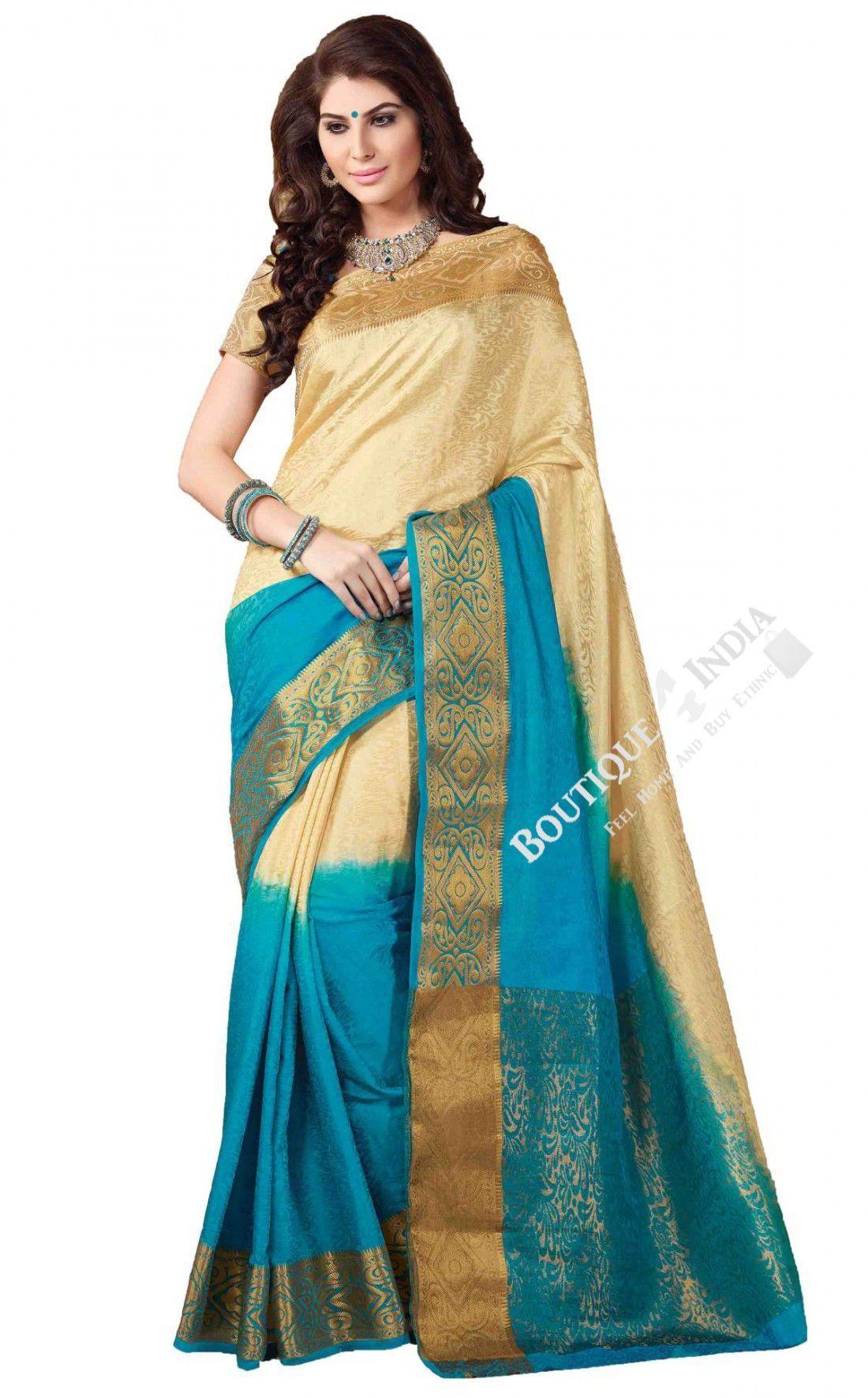 Sarees - Blue, Cream And Golden Jarri Silk Saree Collections ...
