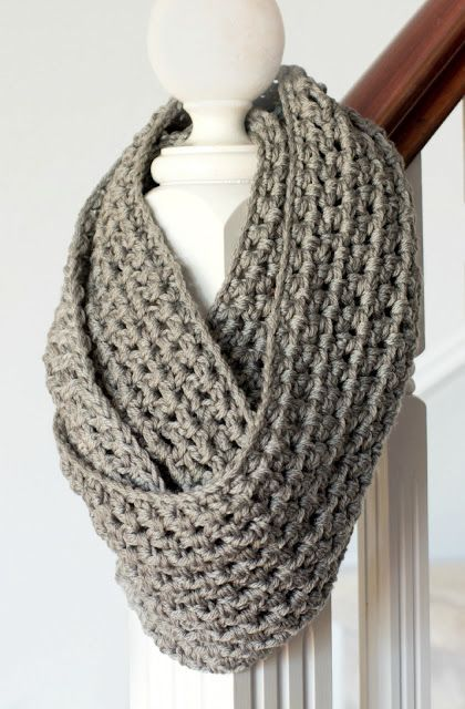Crochet Pattern Basic Chunky Infinity Scarf Scarves Knitting