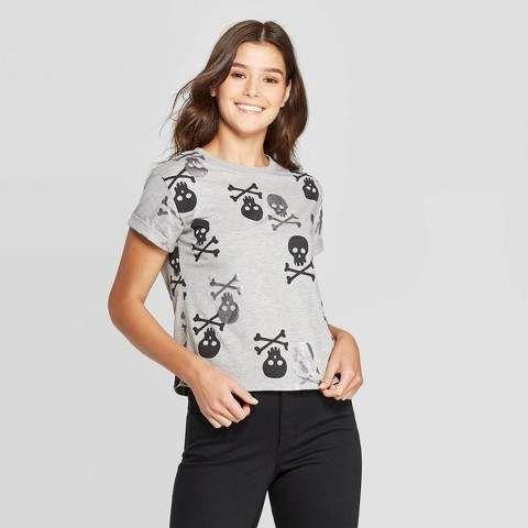 Juniors Cap Sleeve Skull T-Shirt