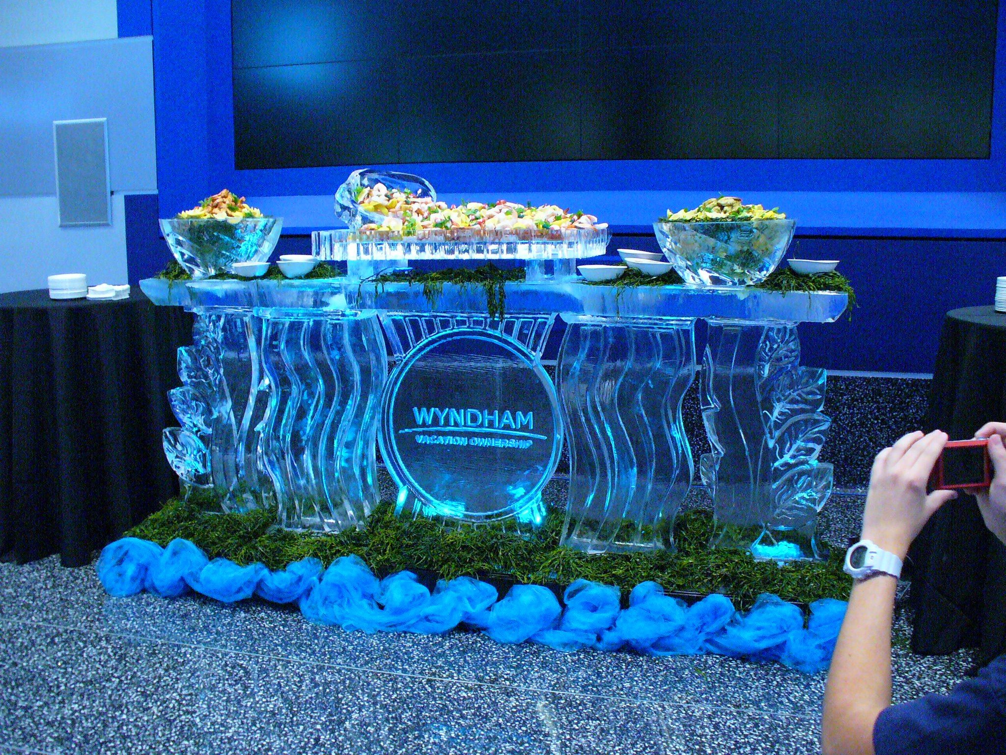 An 8\' ice bar used for a cold seafood display at the Amway Center in ...