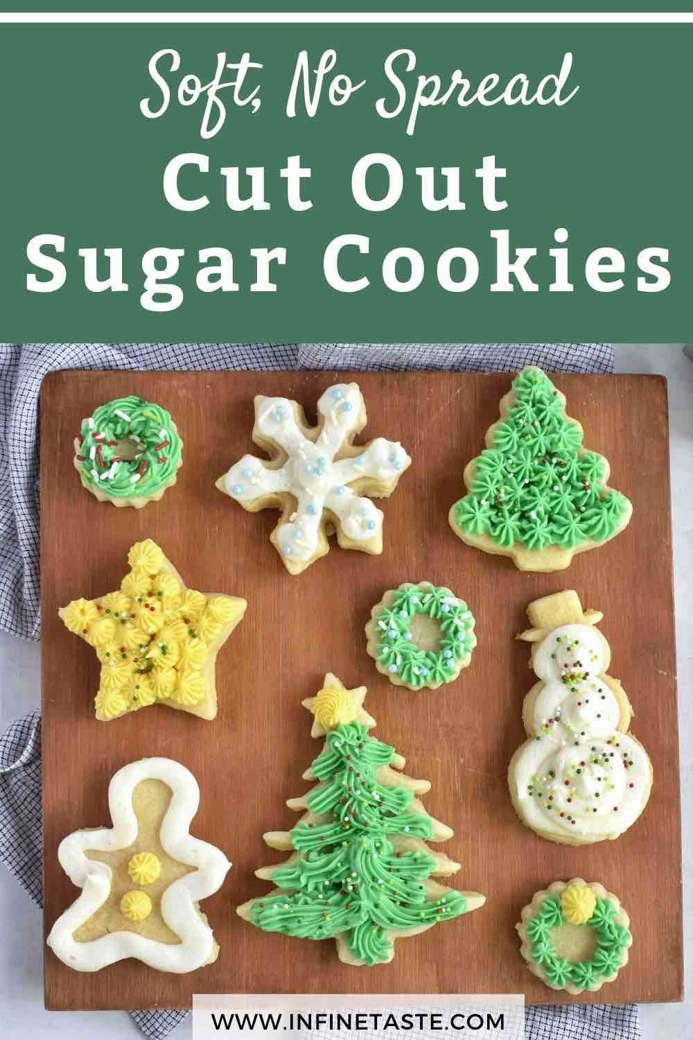 Soft, no spread cut out sugar cookie recipe with my favorite buttercream frosting! These soft cream cheese sugar cookies hold their shape perfectly when baked! #ChirstmasDessertsEasy #EasyChristmasDesserts #ChristmasCookies #ChristmasCookiesRecipes #CookiesRecipesChristmas #EasyChristmasCookies #CreamCheeseSugarCookies #EasySugarCookies #SugarCookieRecipes #SugarCookieRecipeEasy #FrostedSugarCookie #BestSugarCookieRecipes #SoftSugarCookies #SugarCookieIcingRecipe #Cutoutsugarcookies