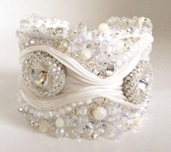 http://de-cors.com  Swarovski Crystal Beaded Shibori Ribbon Cuff Bracelet on Etsy, $249.14 AUD