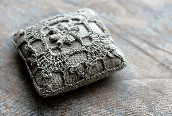 Crochet embellished pin cushion~