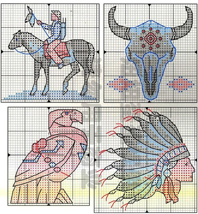 Free Cross Stitch Pattern Native Spirit 8 Warrior Skull Eagle