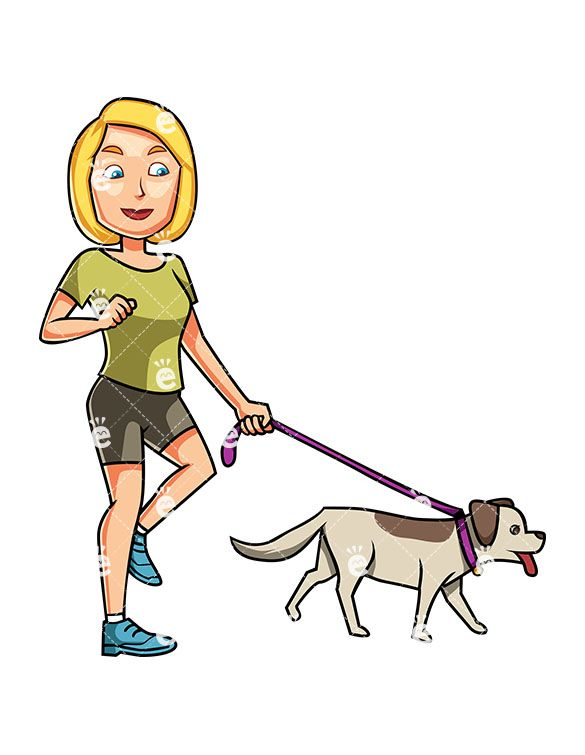 A Satisfied Woman Walking Her Dog With A Leash While Smiling