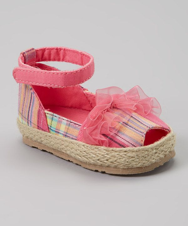 Pink Plaid Peep Toe Espadrille by Baby