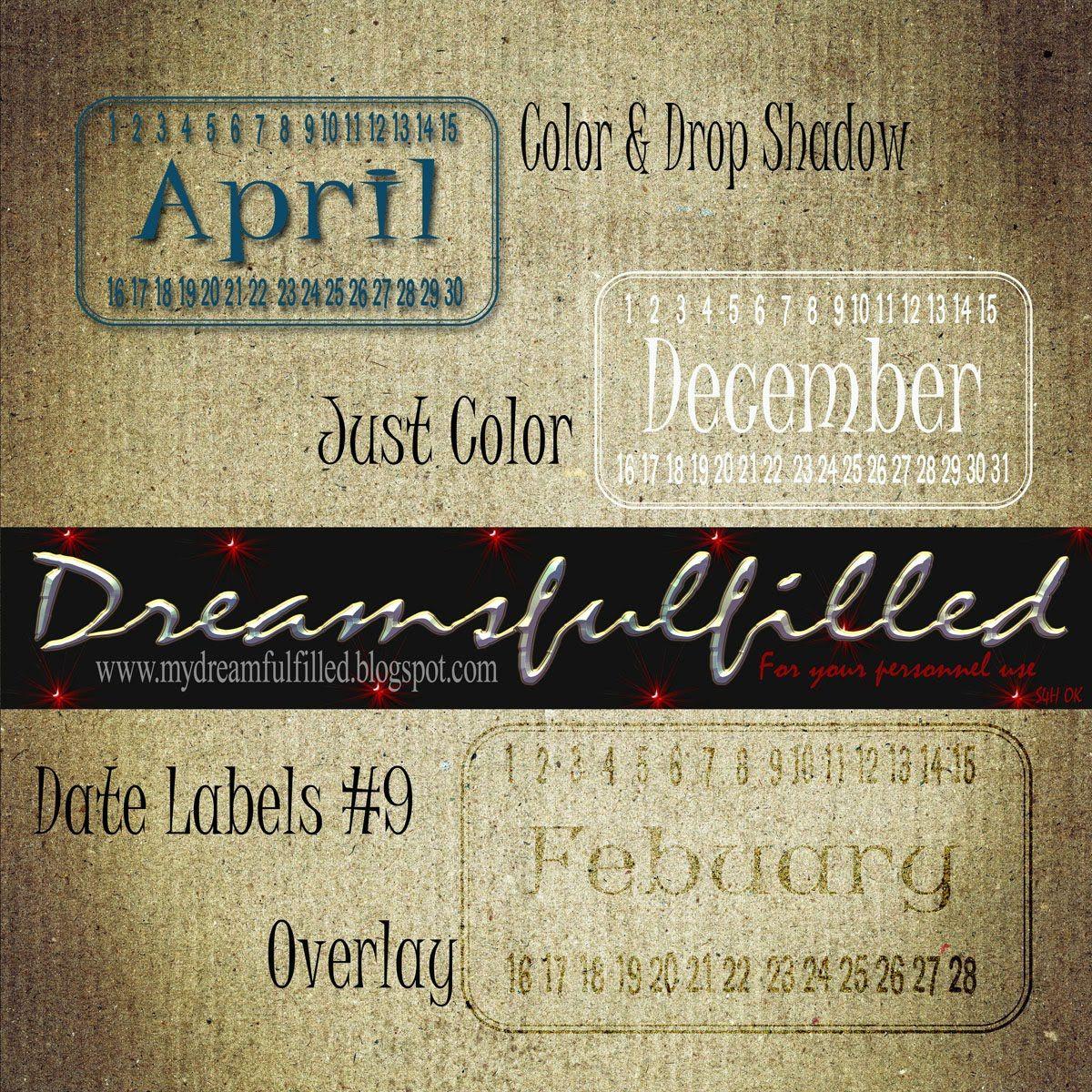 Dreamsfulfilled: Date Label #9. Colección de sellos con los diferentes meses.