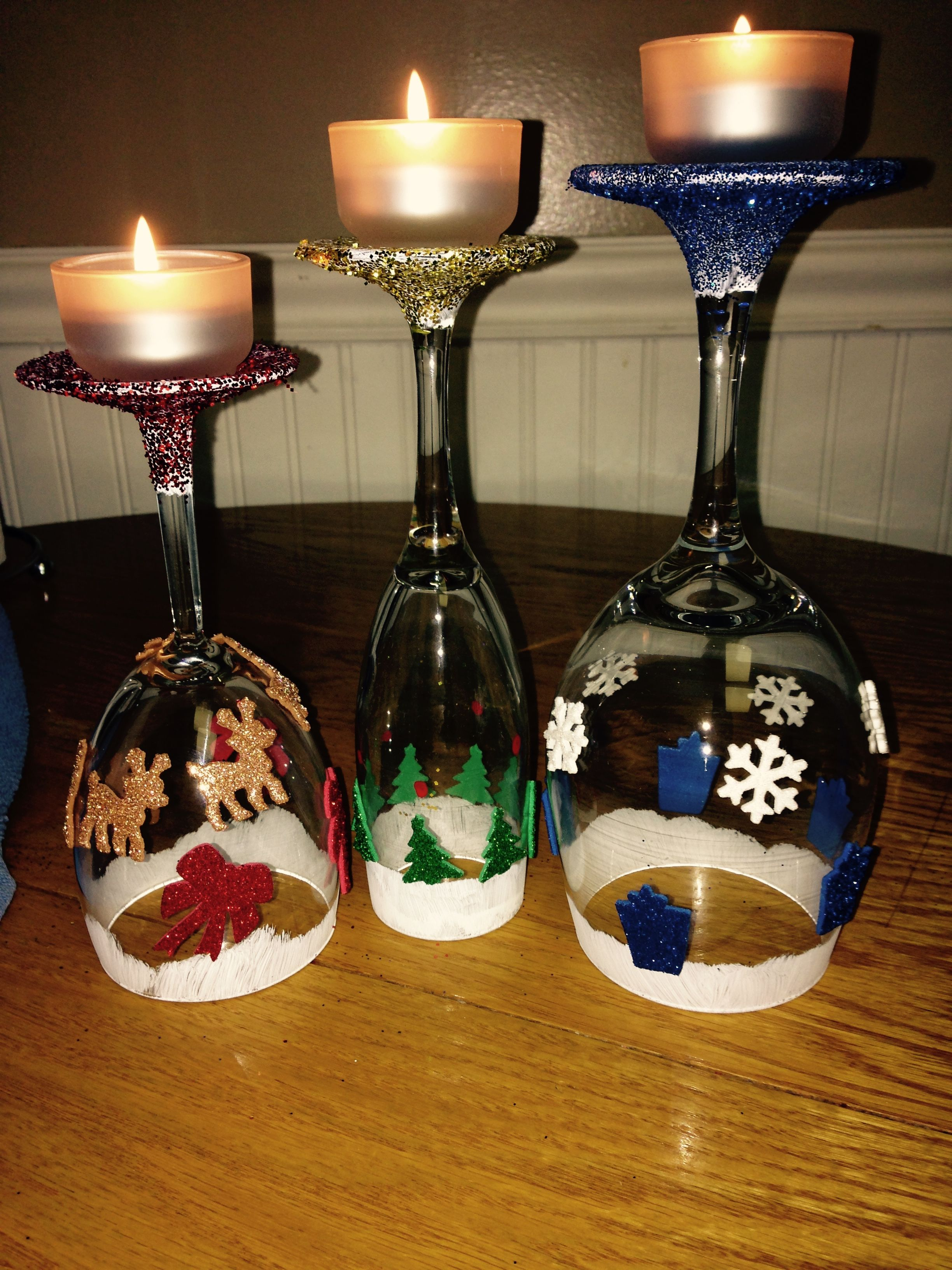 Sarah made these wine glasses upside down into candle for Holiday wine glass crafts