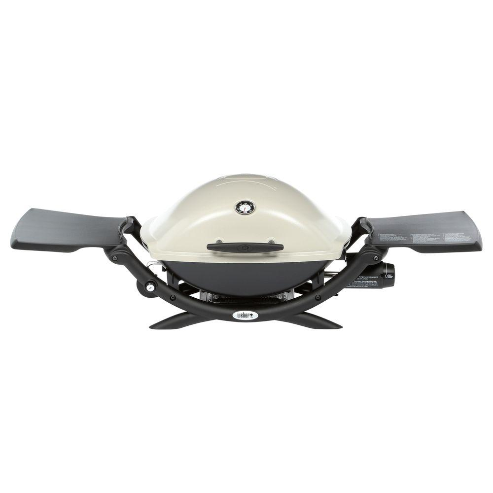 Weber Q 2200 1 Burner Portable Propane Gas Grill In Titanium With Built In Thermometer 54060001 The Home Depot Portable Gas Bbq Gas Bbq Best Gas Grills