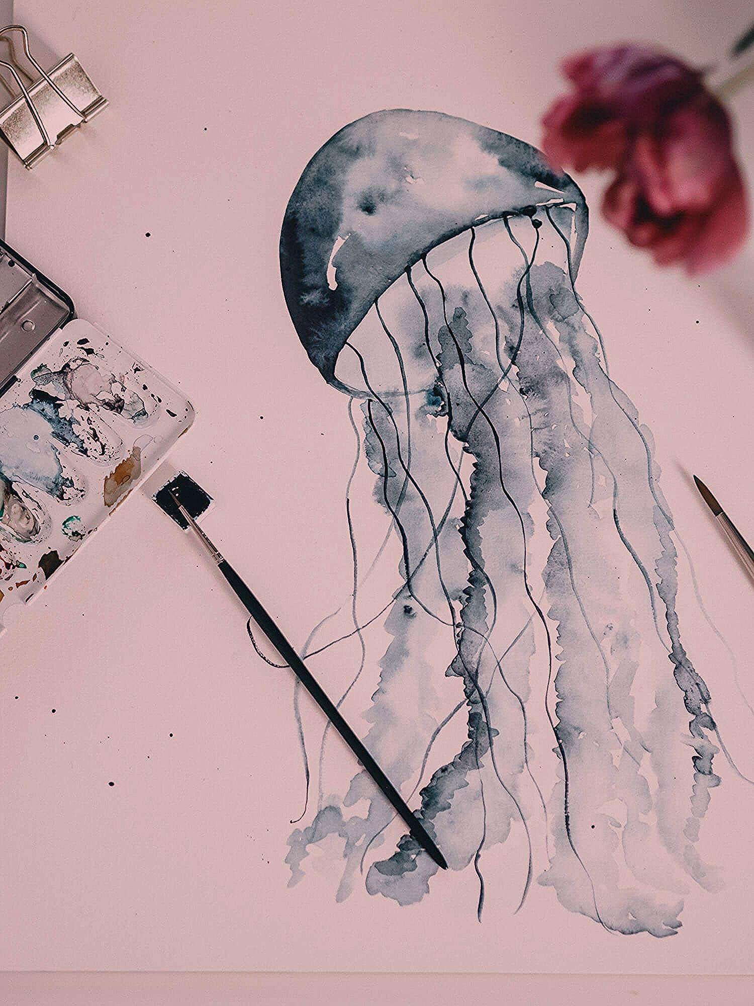 Tutoriel Peinture A L Aquarelle De Meduses Aquarelles Pour