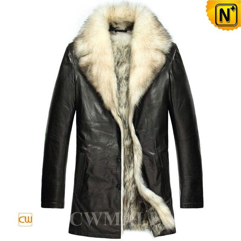 a63c0cecd2f2 CWMALLS® Mens Black Wolf Fur Coat CW855418