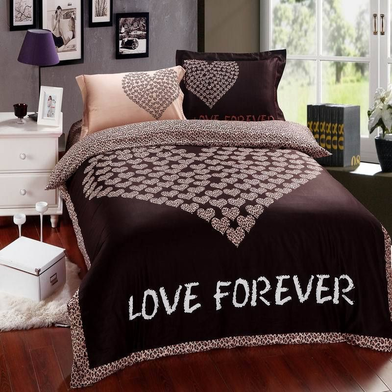chocolate love forever heart pattern 4pcs bedding set queen king size cotton doona duvet cover flat