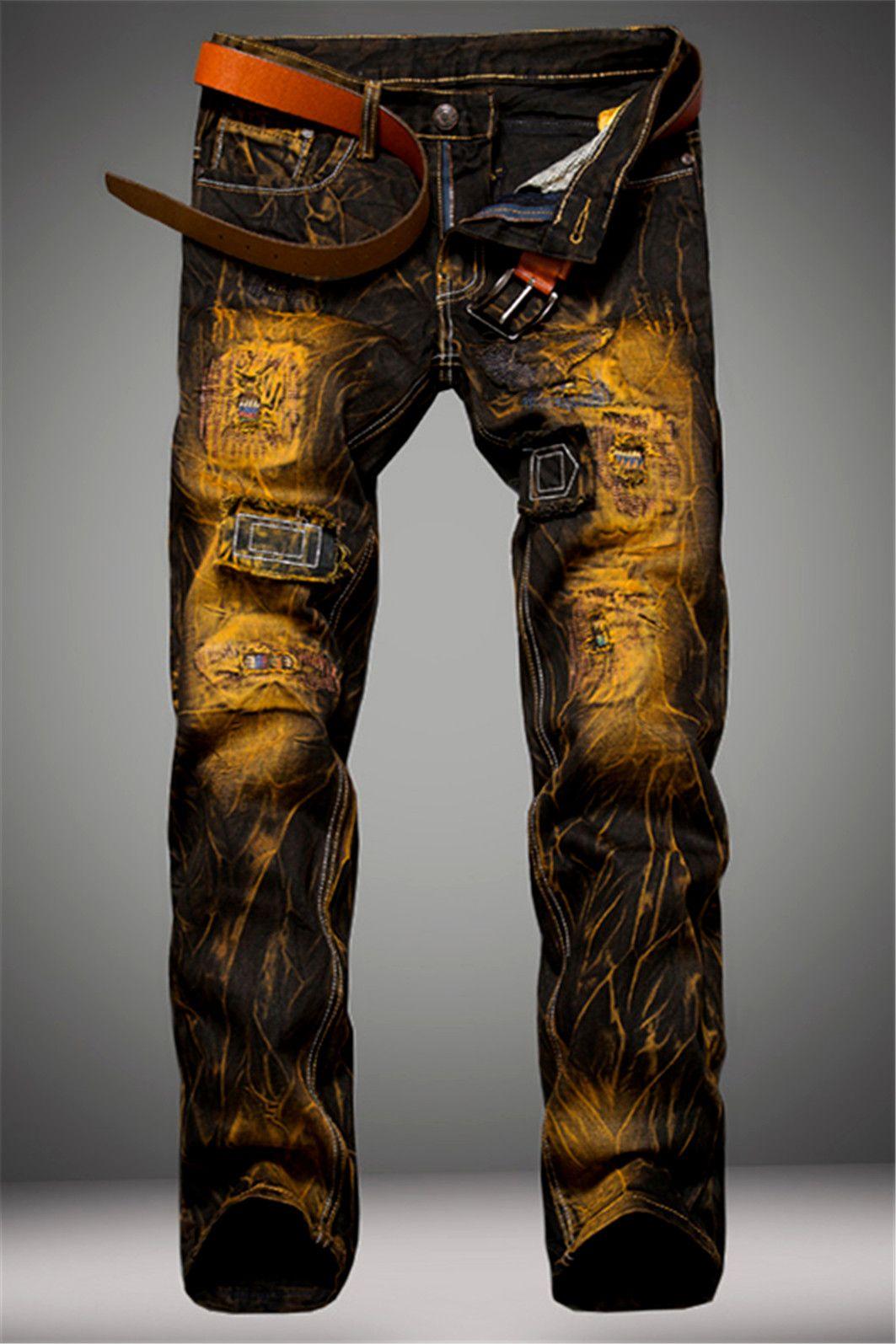 23.57 Cotton+Jeans Holes Design Patched Dye Zipper Fly Denim Pants ... ad6576f6ce3d