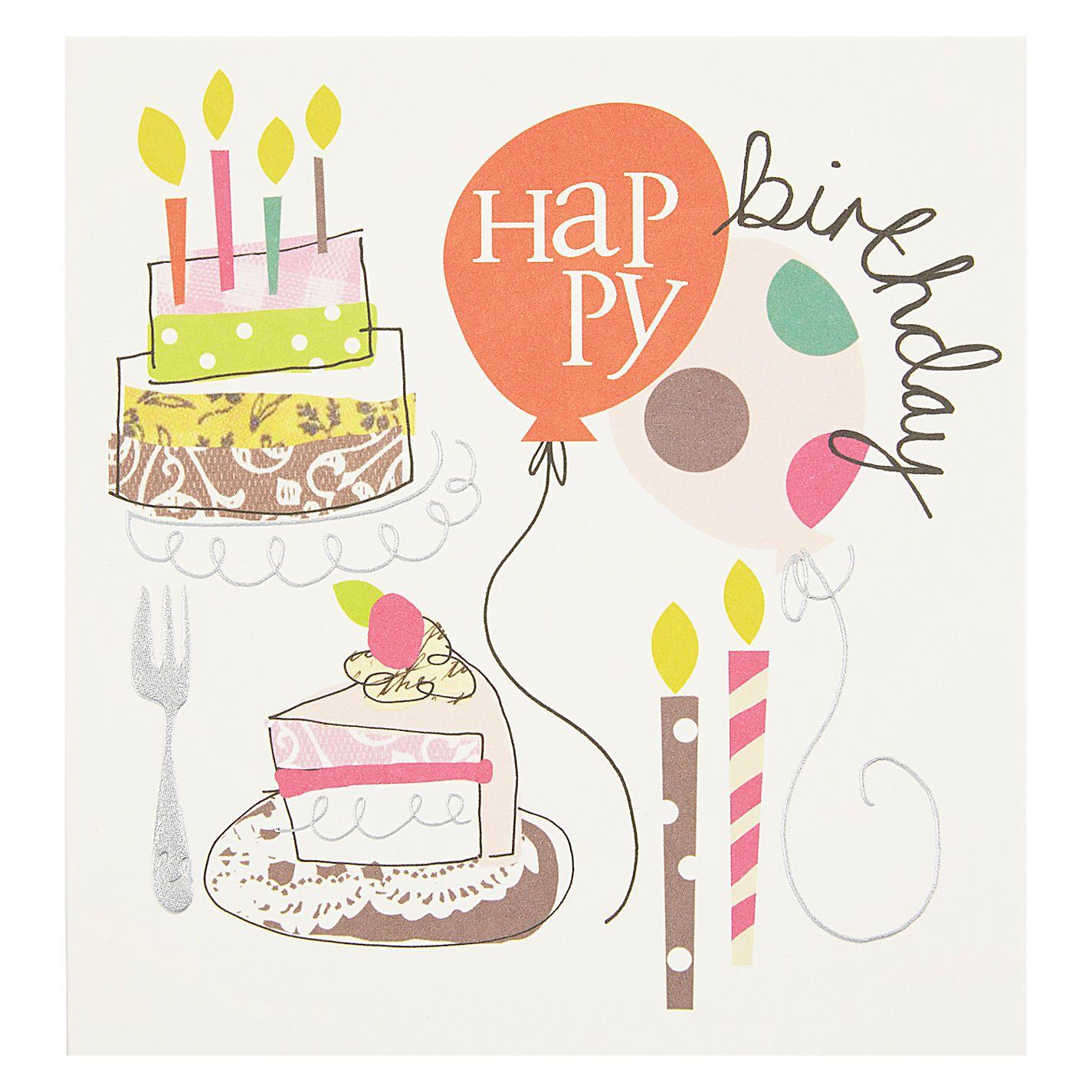 Caroline Gardner Cake and Balloon Birthday Card Happy