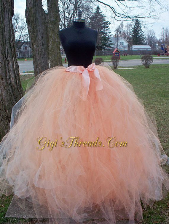 Blush Or Sherbet Adult Long Tutu Wedding Tulle Skirt Available In 35 Additional Colors