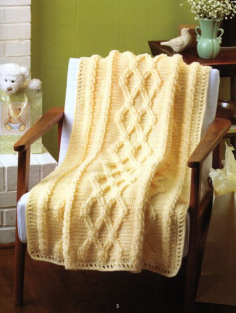 Crochet Aran Baby Blanket Pattern : Aran Cables Baby Blanket - crocheted cables Things to ...
