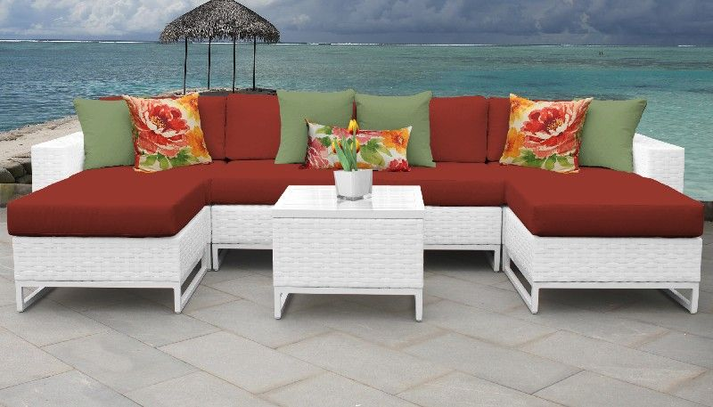 Miami 7 Piece Outdoor Wicker Patio Furniture Set 07b In Terracotta