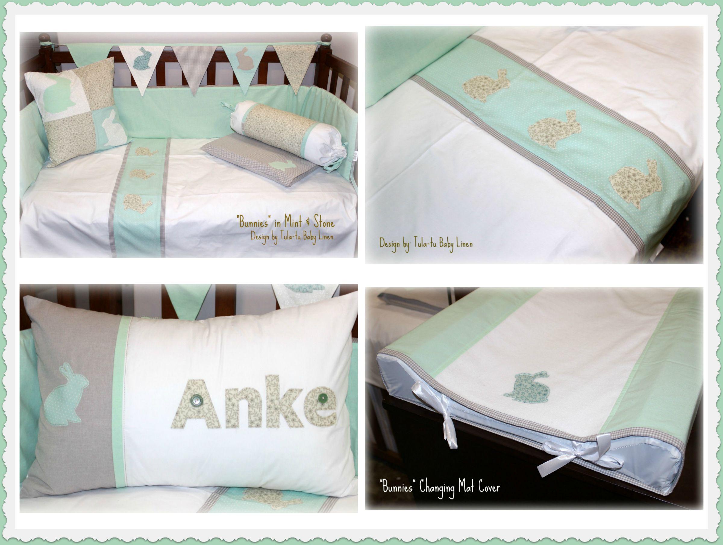 Baby cribs co za - Bunny Cot Nursery Linen In White Stone Mint Designed By Tula Tu