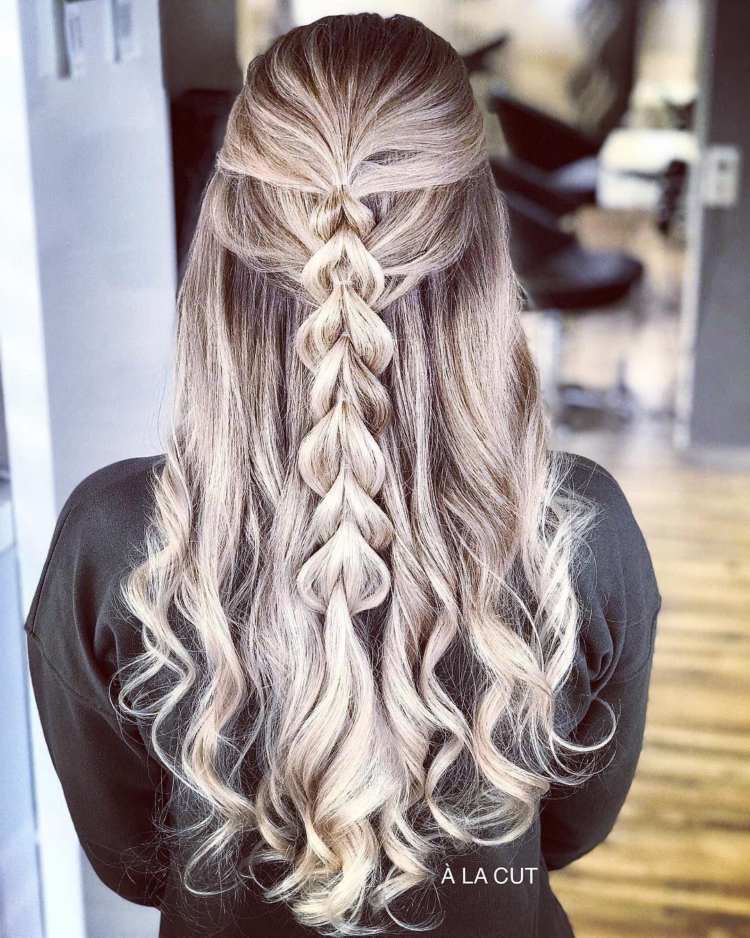 Braut Frisur halb offen für lange Haare  30 Ideen  Hochzeit Box  Brautfrisur ha…