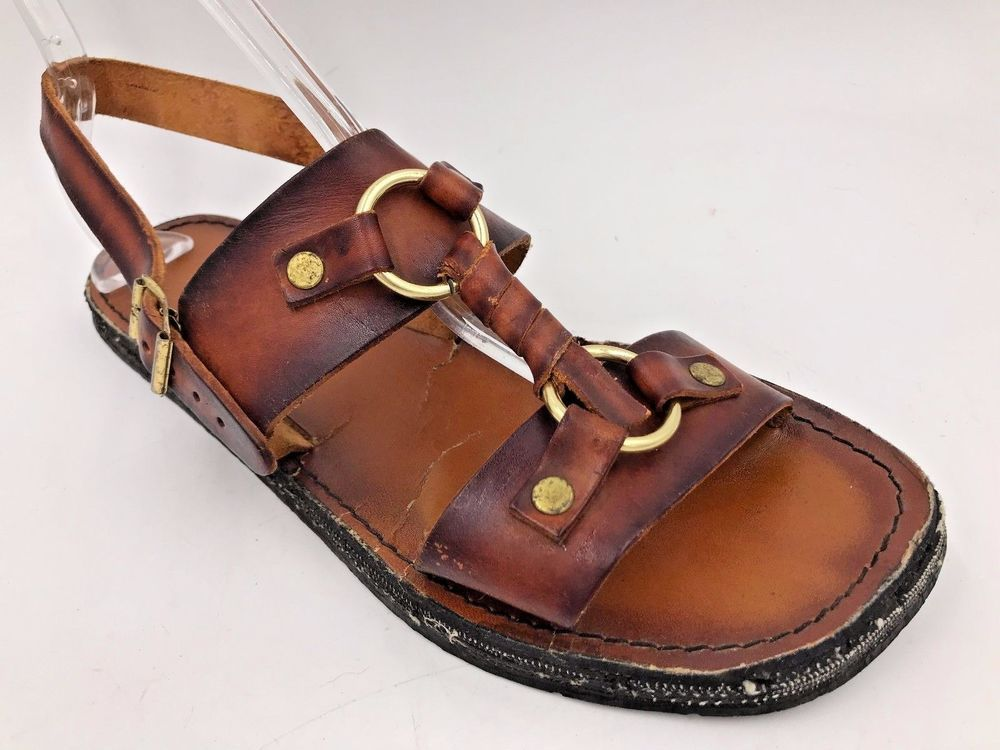 a117c052f9298 Vintage 1970s Brown Leather Rivet Tire Tread Hippy Sandals Mens size ...