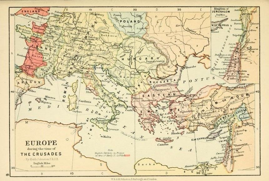 Europe during the time of the crusades by keith johnston 1804 1871 europe during the time of the crusades by keith johnston published in the half crown atlas of british history page gumiabroncs Choice Image